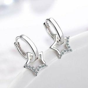 925 Sterling Silver Diamond Star Huggie Hoops